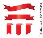 red ribbon set inisolated white ... | Shutterstock .eps vector #1567896310