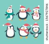 christmas set of penguins.... | Shutterstock .eps vector #1567927846