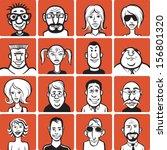 doodle faces | Shutterstock .eps vector #156801320