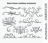 Vector hand drawn design elements. Vintage doodle banners, ribbons, divider, swirls, arrows.