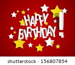 happy birthday card with stars... | Shutterstock .eps vector #156807854