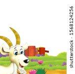 cartoon farm scene with animal... | Shutterstock . vector #1568124256