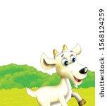 cartoon farm scene with animal... | Shutterstock . vector #1568124259