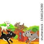 cartoon farm scene with animal... | Shutterstock . vector #1568124280