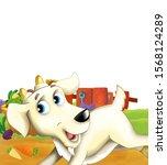 cartoon farm scene with animal... | Shutterstock . vector #1568124289