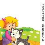 cartoon scene with cat having... | Shutterstock . vector #1568124313