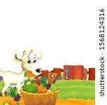 cartoon farm scene with animal... | Shutterstock . vector #1568124316