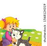 cartoon scene with cat having... | Shutterstock . vector #1568124319