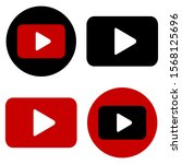 red and black play button icon... | Shutterstock .eps vector #1568125696