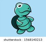 cartoon green turtle animal...   Shutterstock .eps vector #1568140213