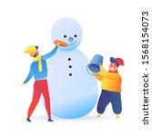 cartoon boyskids making snowman ... | Shutterstock .eps vector #1568154073