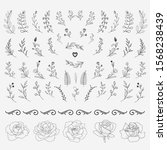 hand drawn floral elements set | Shutterstock .eps vector #1568238439