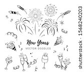 fun hand drawn new years party... | Shutterstock .eps vector #1568240203