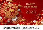 2020 chinese new year greeting... | Shutterstock .eps vector #1568295619