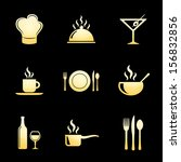 food and restaurant icons gold... | Shutterstock .eps vector #156832856
