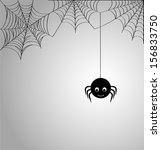 cute spider and webs over gray... | Shutterstock . vector #156833750