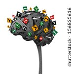 Stock photo brain direction neurology concept for dementia with tangled roads in the shape of the human 156835616