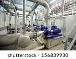 new shiny pipes and large pumps ... | Shutterstock . vector #156839930