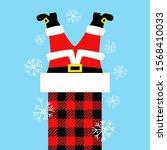 santa stuck in chimney... | Shutterstock .eps vector #1568410033