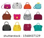 fashionable woman bags flat... | Shutterstock .eps vector #1568437129