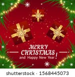 merry christmas and happy new... | Shutterstock .eps vector #1568445073