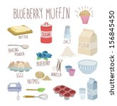 blueberry muffin recipe | Shutterstock .eps vector #156845450