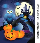 halloween background in blue ... | Shutterstock .eps vector #156845660