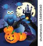 halloween background in blue ... | Shutterstock .eps vector #156845660