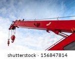 Red Truck Crane Boom With Hook...