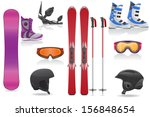 ski and snowboarding set icons equipment vector illustration isolated on white background