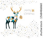 merry christmas  card with deer.... | Shutterstock .eps vector #1568486860