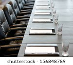 the boardroom table is set for... | Shutterstock . vector #156848789