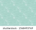 abstract blue sea wavy doodle... | Shutterstock .eps vector #1568493769