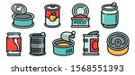 tin can icons set. outline set... | Shutterstock .eps vector #1568551393