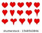 eps 10 vector. set of 15 hearts ... | Shutterstock .eps vector #1568563846