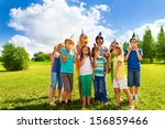 large group of happy kids... | Shutterstock . vector #156859466