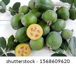 Green Feijoa Fruit Cut   Feijoa ...