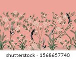 vintage chinoiserie floral rose ... | Shutterstock .eps vector #1568657740