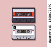 cassette tape flat illustration ... | Shutterstock .eps vector #1568673190