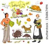 thanksgiving day hand drawn...   Shutterstock .eps vector #156867494