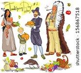 thanksgiving day hand drawn...   Shutterstock .eps vector #156867518