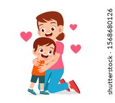 happy cute kid boy hugging mom... | Shutterstock .eps vector #1568680126
