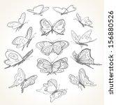 set of hand drawn butterflies.... | Shutterstock .eps vector #156880526