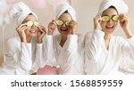 Happy Young Women Wear White...