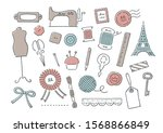 hand drawn antique sewing set   Shutterstock .eps vector #1568866849