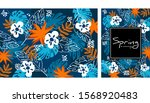 tropical jungle leaves and... | Shutterstock .eps vector #1568920483