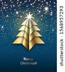 origami christmas tree made... | Shutterstock .eps vector #1568957293
