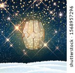 vintage lantern with led string ... | Shutterstock .eps vector #1568957296