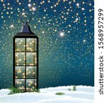 vintage lantern with led string ... | Shutterstock .eps vector #1568957299