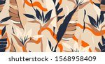 modern exotic jungle plants... | Shutterstock .eps vector #1568958409